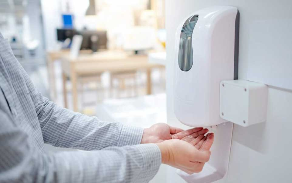 oficina manos gel antibacterial dispensador